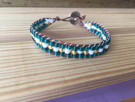 Teal wrap bracelet with gold and white accent beads, single wrap bracelet, gift, Christmas, bridesmaid, wedding, elegant, simple, stackable