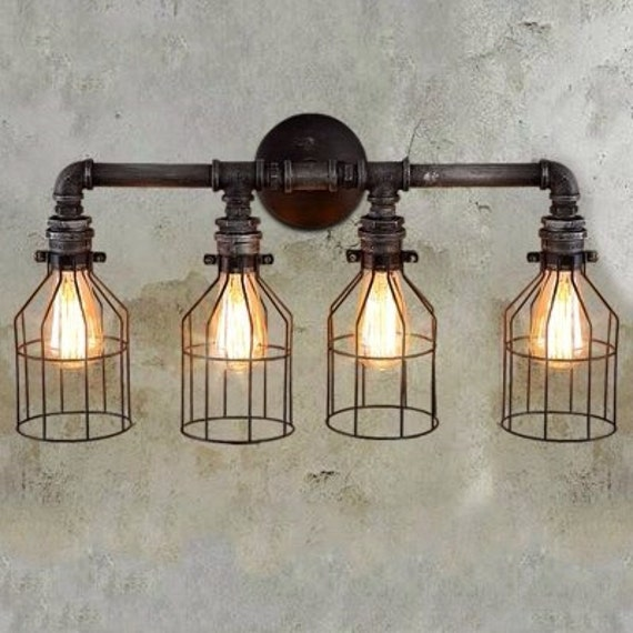 Loft industrial rustic steampunk style 4 light vanity sconce