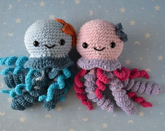 Jellyfish Amigurumi, Crochet, jellyfish, Octopus stuffed plush Octopus baby, newborn baby girl, newborn baby boy