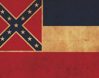 Vintage Mississippi Flag on Canvas, Mississippi Flag, Wall Art, Mississippi Photo, Mississippi Print, Single or Multiple Panels