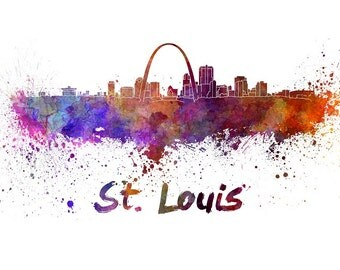 St Louis skyline watercolor canvas,  St Louis Canvas, St Louis wall art, St Louis Canvas Wall Art, St Louis wall art canvas, St Louis