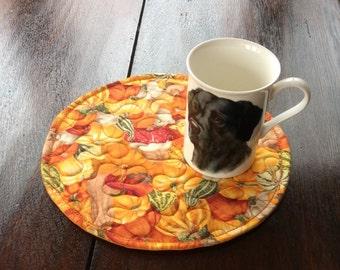 Quilted Mug Rugs / Mats. 4 Mug Mats. Home Decor. Gift.Handmade.Unique.Vegatable Mats.Placemats.Table Topper.