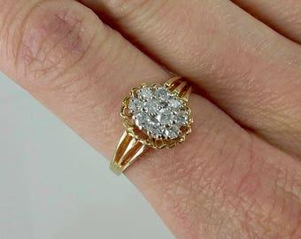 Vintage 14k .25c tw Diamond Ring Sz 6.5