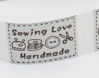 Sewing Labels - Sewing Love - Handmade - Clothing Labels, Woven Labels