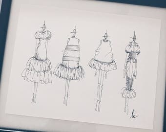 Fashion Illustration Print 'RUFFLES'