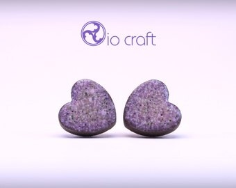 Violet Ceramic Earrings, Violet Heart-shaped Earrings, Purple Hearts Earrings, Ceramic Stud Earrings, Ceramic Jewelry, Polish Ceramics