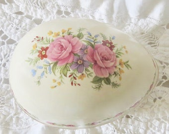 Sadler Pink Roses Trinket Box, Egg Shaped, Easter / Birthday / Shower Gift for Her