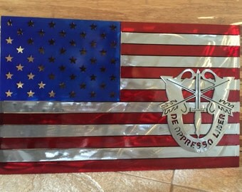 American Flag Metal sign with Special Forces Crest