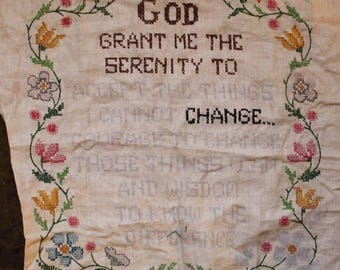 Hand Embroidered Prayer on a Found Vintage Embroidery
