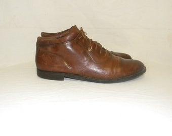 Johnston & Murphy-Men Sz 13-Vintage shoes-Brown leather shoes-Flat shoes-1970s-Lace up shoes.