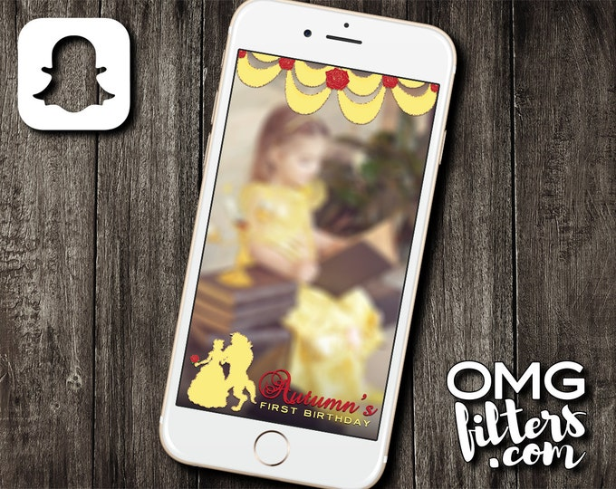 Beauty and the Beast inspired Snapchat Geofilter - Any Age! Any Wording! Any Event!
