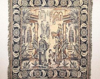Vintage French 'Arabian market scene' tapestry