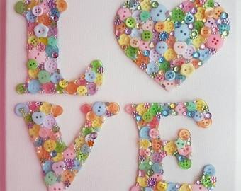 Handmade Button Love Picture Art
