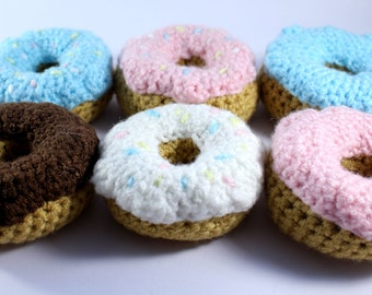 Crocheted Donuts 6 pack - Play Food - Educational toys- Preschool - Nursery - Learning - Game- Children - Toddler- Primary School - doughnut