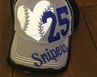 Baseball Bling Hat, Custom sports Mom, Baseball Mom Hat, Custom Baseball Hat, Distressed Baseball Hat, Distressed Sports Mom Hat, Sports Mom