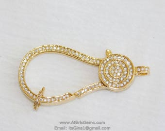 Large Gold Plated Lobster Claw Clasp and Pave Jump ring 24 x 50 mm Connector bead chain necklace Cubic Zirconia Paved CZ Findings