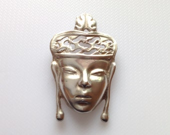 Egyptian Goddess Face Pin with Crown, Sterling Silver Brooch