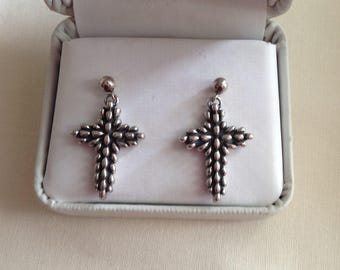 Sterling Silver Cross Earrings, Sterling Cross Earrings, Cross Earrings, Sterling Earrings