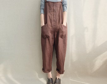 Women Casual Linen Jumpsuits Overalls Pants With Pockets Linen Trousers Harem Pants