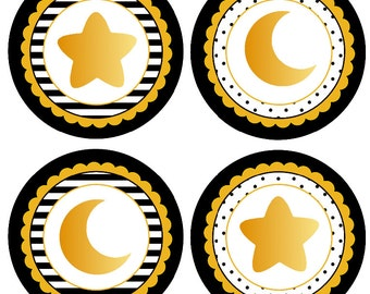 Twinkle Twinkle Little Star Centerpiece Instant Download Centerpiece Little Star Birthday Little Star Baby Shower Black and Gold Star Decor