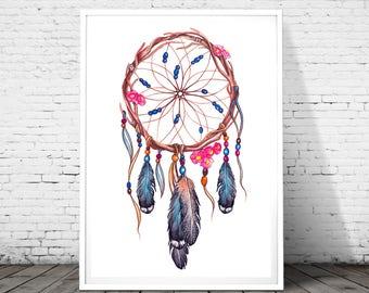 Dream catcher print, dream catcher art, dream catcher wall art, printable art, instant download, tribal print, dream catcher poster, Nursery