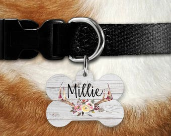 Dog Tag for Dogs, Dog ID Tag, Dog Tag, Dog Name Tag, Double sided Tag, Pet ID Tag, Pet Tag, Personalized Dog Tag, Rustic Floral, Antler