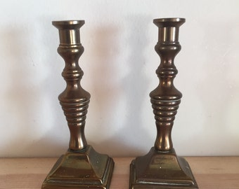 Vintage Miniature Patinated Pair of Candlesticks Candleholders