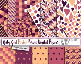 Digital paper DIY Printable wrapping paper pack scrapbook Digital Background Baby girl papers Purple Pastel Powder Commercial & Personal Use