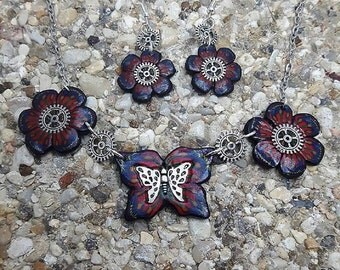 Blue, red flowers and Butterfly Fimo steampunk set.