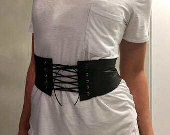Black Leather Corset Belt