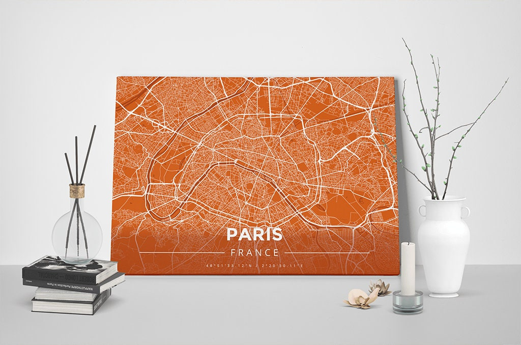 Gallery Wrapped Map Canvas Of Paris France Modern Burnt: Paris Map Canvas At Infoasik.co