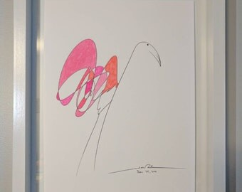 Handmade one of a kind abstract flamingo painting