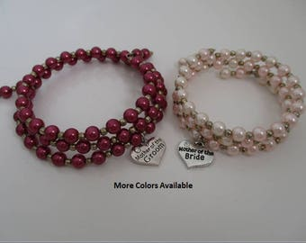 Mother of the Bride / Groom Pearl & Charm Expandable Multi-Layer Bracelets-Set of 2-Mother of the Bride gift-Mother of the Groom gift, B1343