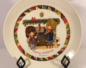 "Vintage 1973 70's Gentle Treasures Merry Christmas Collector's 10"" plate Made in USA Unique Things  Cookies Dessert Holiday Home Decor"