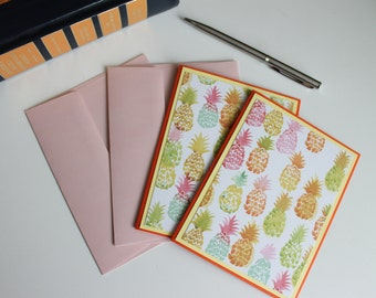 Note Card Set, Greeting Cards, Pineapple, Handmade, Blank Inside