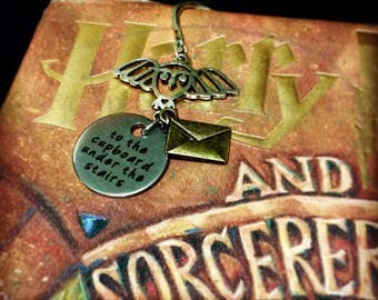 "Harry Potter Letter to Hogwarts 3"" silver charm bookmark"