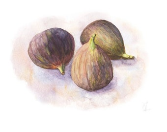 Figs Watercolor Painting, Original Still Life with Figs, Still life Watercolor, Still Life with Figs, Fruits Watercolor, Home Kitchen decor