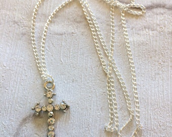 Silver Crucifix Necklace, Silver Necklace, Rhinestone Cross Necklace, Silver Crucifix , Gothic Jewellery, Comfirmation Necklace, Crystal
