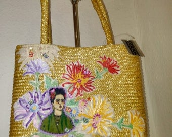 SUMMER SALE! Frida sun bag - shoulder/hand bag - beach bag - frida floral bag - dress it up or down - great gift.