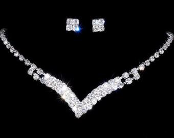 Fashion Silver Wedding Engagement Crystal Rhinestone Necklace Earrings Set Jewelry