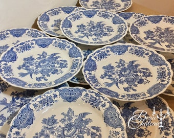 Price for two! 14 Matching Plates Available! English Staffordshire Windsor Transferware Ridgway Blue White Vintage 1960s excellent condition