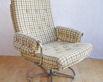 Mid Century Retro Danish Woollen Swivel Easy Lounge Arm Chair 1960s 70s
