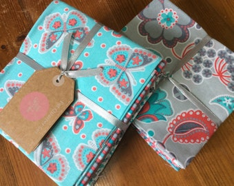 Floral butterfly design, pink/grey/turquoise  - Fat Quarter bundle of 6 beautiful 100% cotton fabrics
