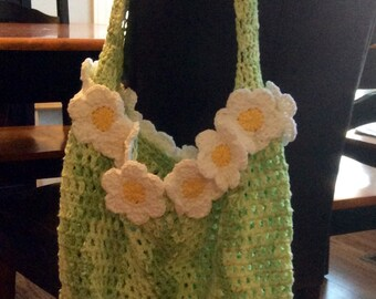 Daisy Bordered Crochet Market Bag - Adult