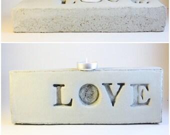 LOVE tealight holder concrete brick