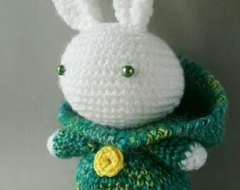 Crochet Bunny in green coat Amigurumi Toy Plush Bunny Stuffed Toy Make to order
