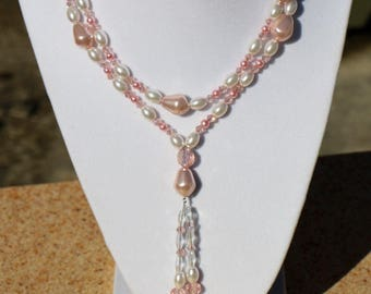 Pretty Pink Glass Pearls and Swarovski Crystal Y-Necklace for Spring Easter