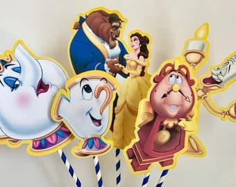 Disney Beauty and the Beast Set of 5 Centerpiece Picks (Double-Sided)