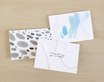Handmade Painted Abstract Appreciative Greeting Cards