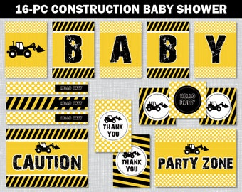 Construction Baby Shower Decor, Construction Baby Shower, Baby Shower Printables, Construction Baby Shower Decorations, BS2017